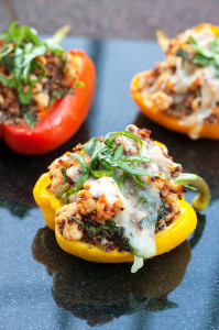 Turkey and Quinoa Stuffed Peppers   spachethespatula.com #recipe