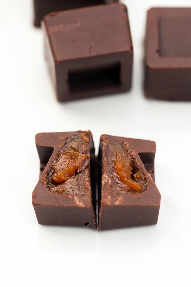 Super Simple Stuffed Chocolates (Salted Caramel + Peanut Butter, Peanut Butter Caramel, and Maraschino Cherry) | spachethespatula.com #recipe
