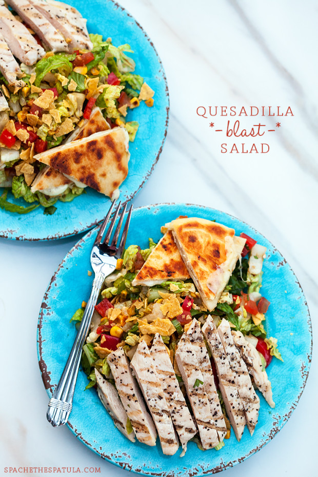Quesadilla Blast Salad | spachethespatula.com #recipe