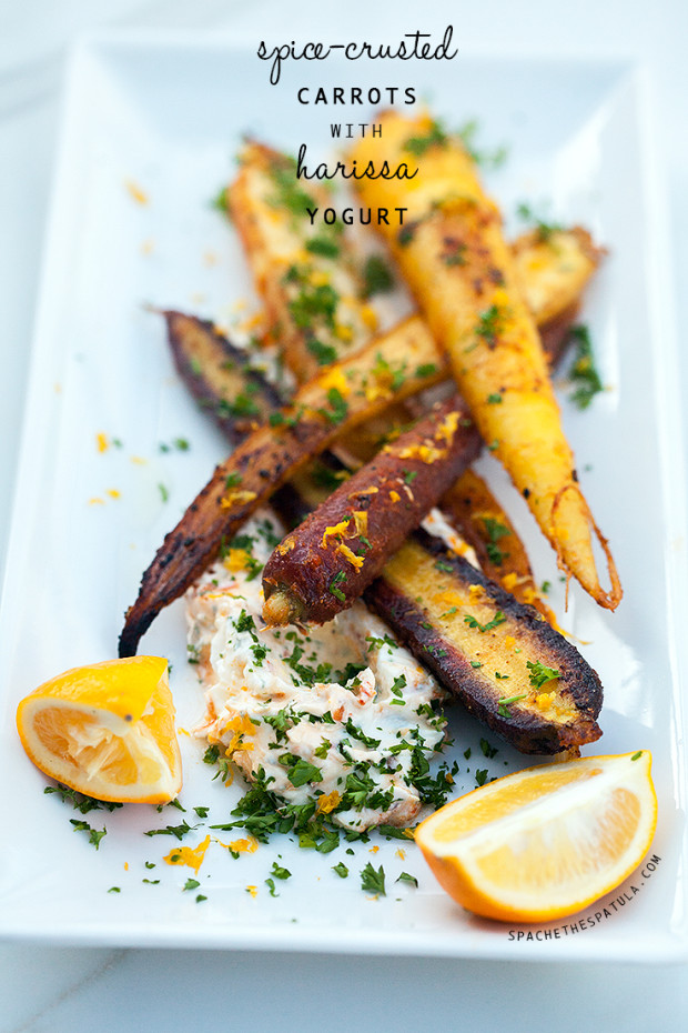 Spice-Crusted Carrots with Harissa Yogurt | spachet