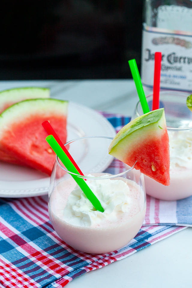 Spiked Watermelon Milkshakes | spachethespatula.com #recipe