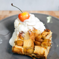 Tres Leches Bread Pudding with Cherries | spachethespatula.com #recipe