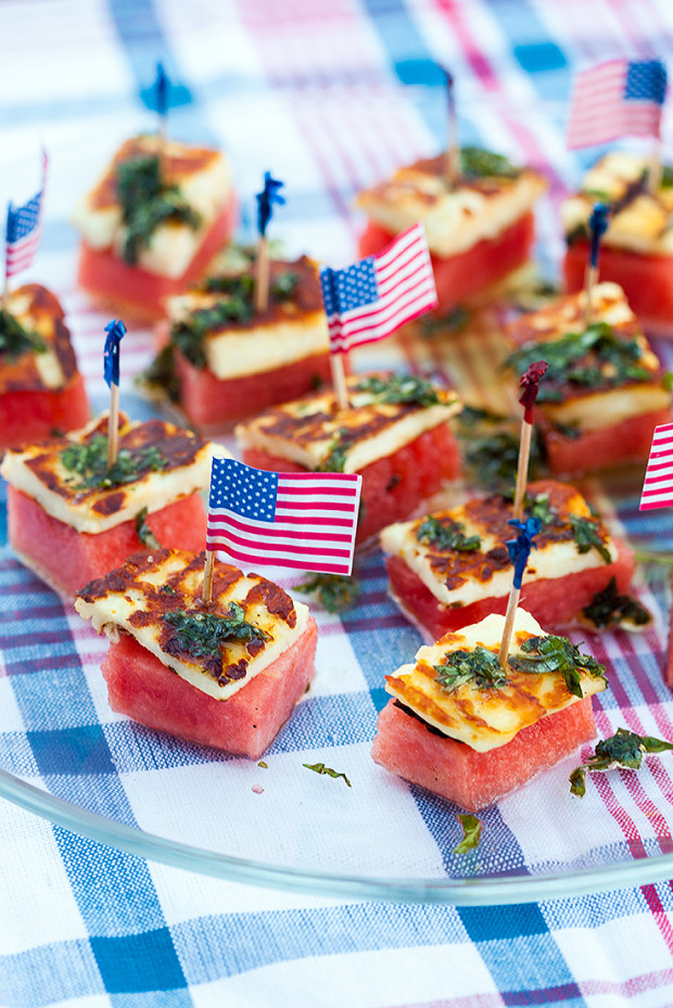 Watermelon & Halloumi Bites with Basil-Mint Oil | spachethespatula.com #recipe