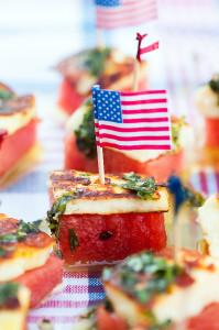 Watermelon & Halloumi Bites with Basil-Mint Oil | spachethespatula.com #recipe