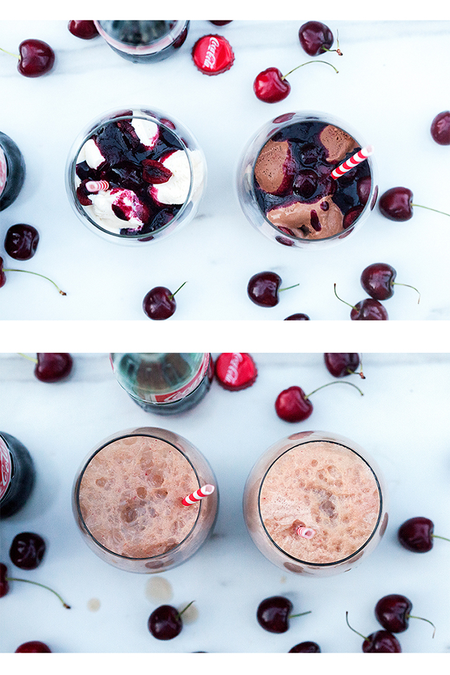 Fresh Cherry Cola Floats (with Vanilla or Chocolate Ice Cream) } spachethespatula.com #recipe