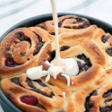 Dark Chocolate-Raspberry Sweet Rolls with Cream Cheese Icing | spachethespatula.com #recipe