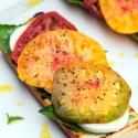 Heirloom Caprese Toasts with Truffle Salt   spachethespatula.com #recipe