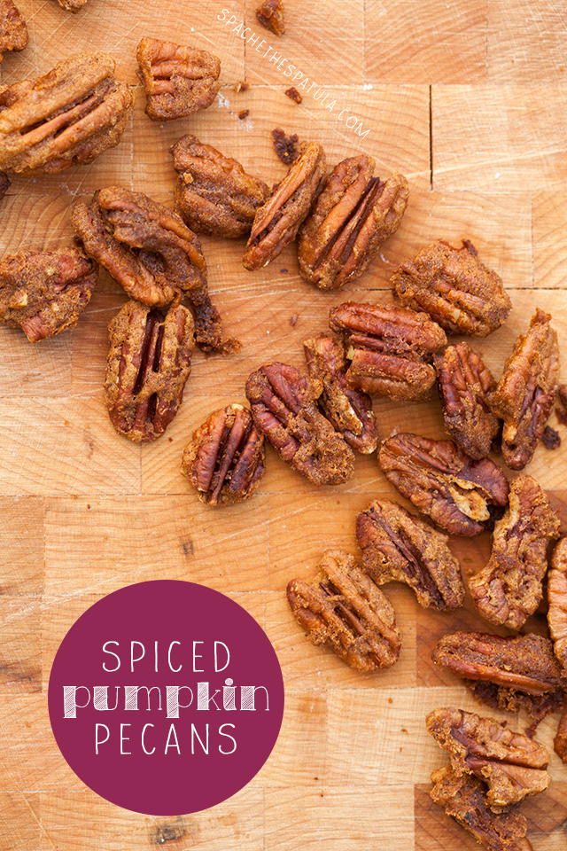Spiced Pumpkin Pecans: super crunchy, and contain real pumpkin! | spachethespatula.com