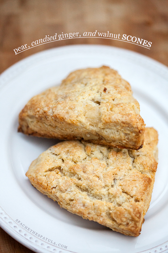 Pear, Candied Ginger, and Walnut Scones | spachethespatula.com #recipe