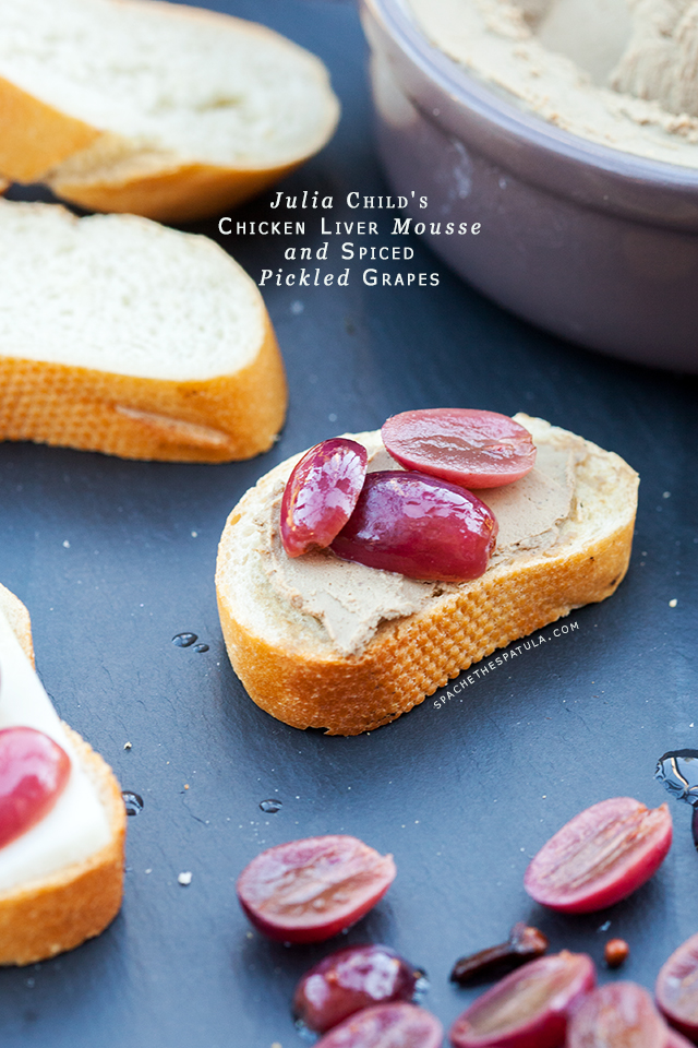 Julia Child's Chicken Liver Mousse and Spiced Pickled Grapes   spachethespatula.com #recipe