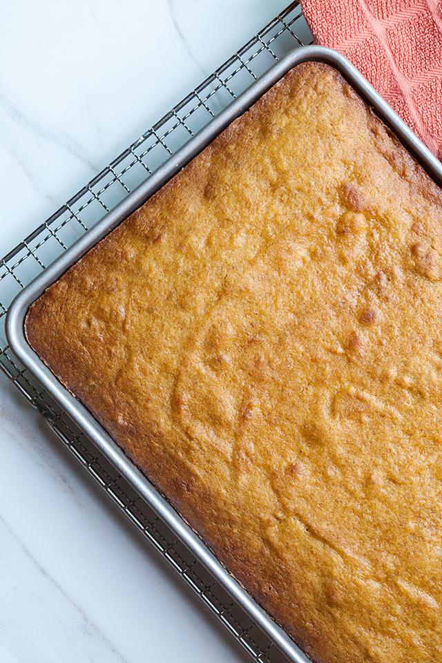 Pumpkin Sheet Cake with Lavender-Sour Cream Frosting | spachethespatula.com #recipe
