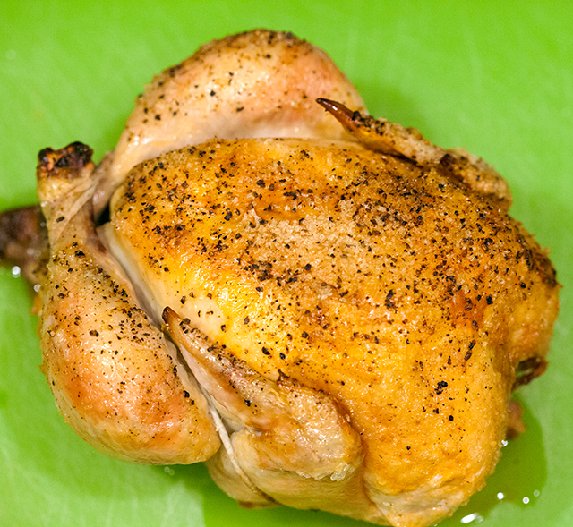 The easiest, most succulent roast chicken you will ever make. The only necessary ingredient are chicken, salt, and pepper!   spachethespatula.com #recipe
