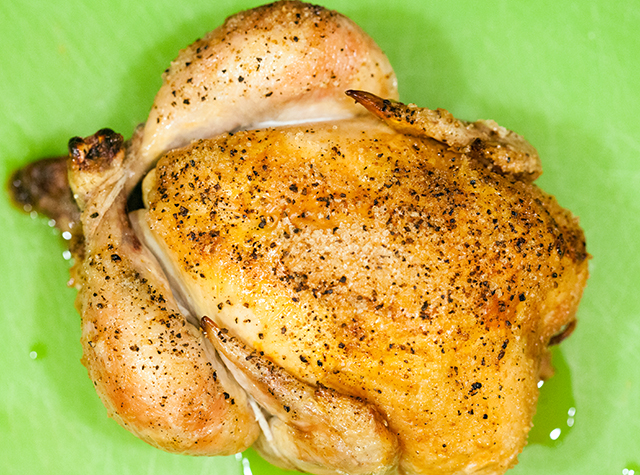 The easiest, most succulent roast chicken you will ever make. The only necessary ingredient are chicken, salt, and pepper! | spachethespatula.com #recipe