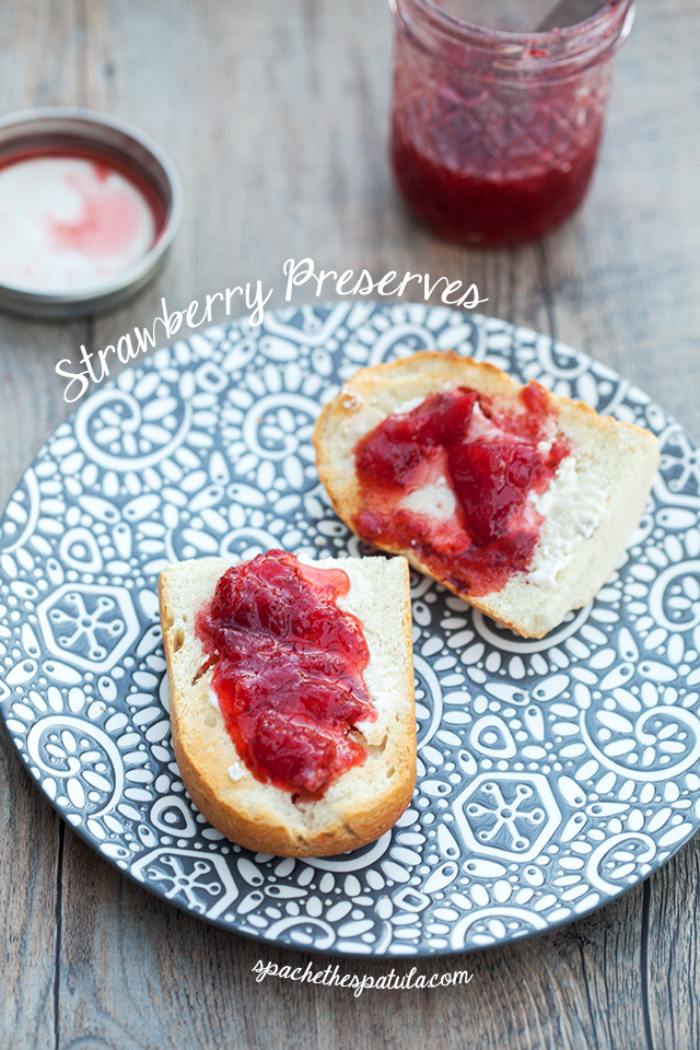 These strawberry preserves couldn't be simpler to make. Large strawberry chunks make this irresistible! Enjoy on toast, or try over ice cream for serious enjoyment! | spachethespatula.com #recipe