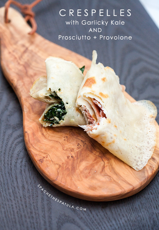 Thin, chewy, crispy Italian pancakes (made with only 2 ingredients) filled with prosciutto + provolone, or garlicky kale  | spachethespatula.com #recipe
