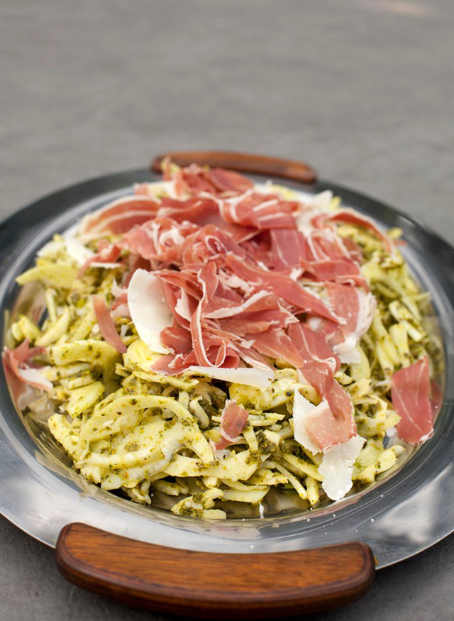 Fennel Slaw with Pistachio-Parsley-Thyme Pesto, Prosciutto di Parma, and Parmigiana Reggiano