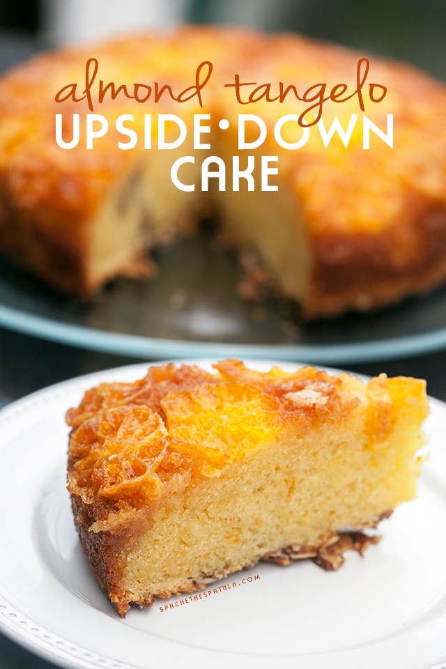 This moist and fluffy cake has a crunchy toasted cinnamon almond base, and a gooey tangelo and caramel top---it's outrageously tasty as dessert, or breakfast!   spachethespatula.com #recipe
