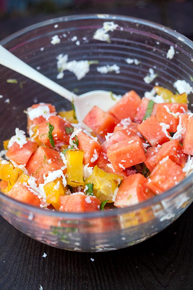 A vibrantly refreshing and tropical fruit salad full of fresh coconut!   spachethespatula.com #recipe
