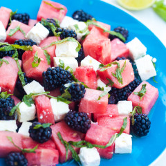 Refreshing fruit, salty feta, and tangy-sweet dressing---this is a perfect salad for warmer weather!   spachethespatula.com #recipe