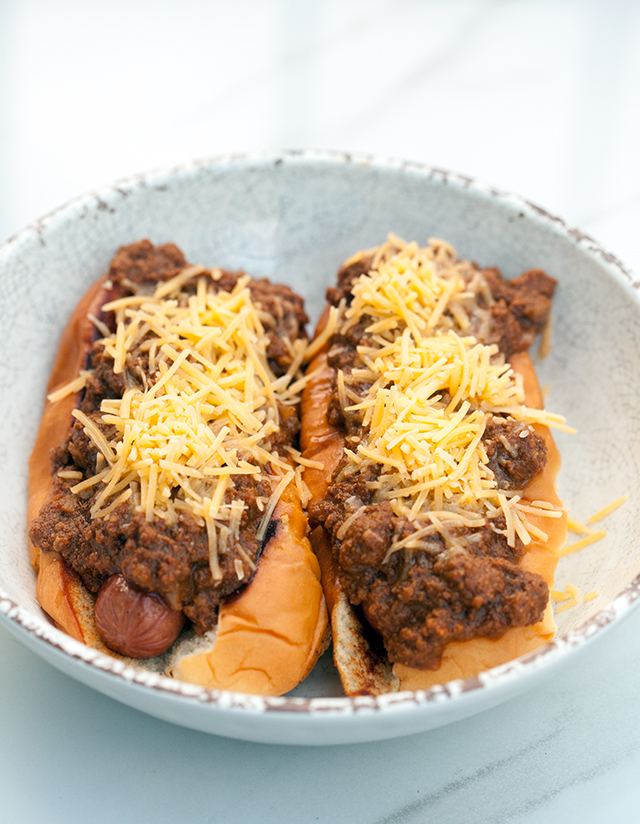 An all meat (no beans!) chili PERFECT for topping hot dogs, baked potatoes, fries, or anything else!   spachethespatula.com #recipe