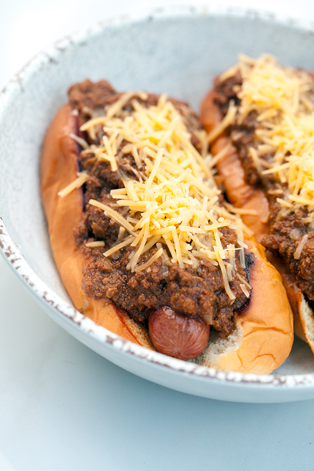 An all meat (no beans!) chili PERFECT for topping hot dogs, baked potatoes, fries, or anything else! | spachethespatula.com #recipe