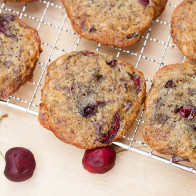 Chewy cookies filled with pieces of fresh, juicy cherries, and studded with bittersweet chocolate | spachethespatula.com #recipe
