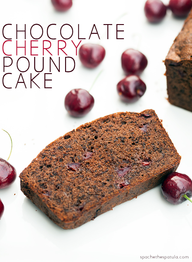 A dense, rich, and chocolatey pound cake, studded with pieces of fresh, juicy cherries! | spachethespatula.com #recipe