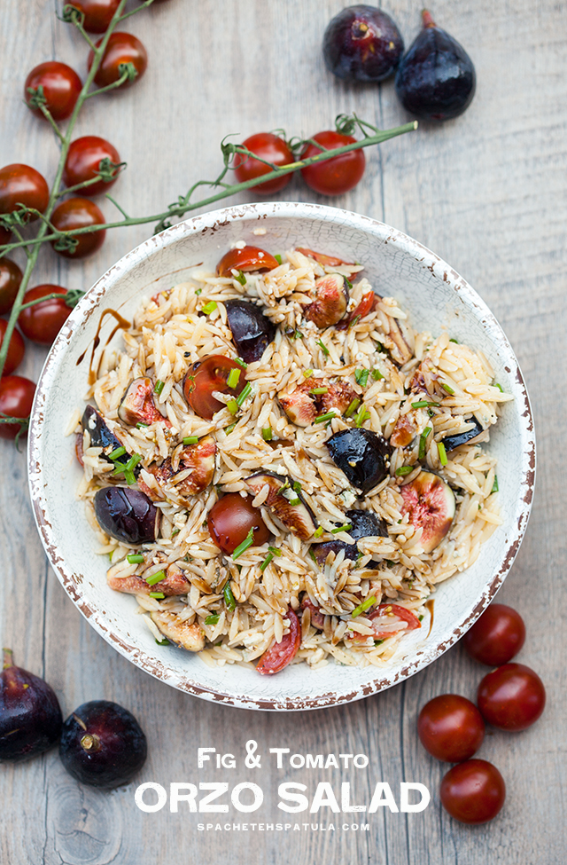 Juicy tomatoes, sweet figs, bold blue cheese, fresh herbs, and crunchy walnuts come together with a sticky drizzle of balsamic glaze, to create a Summer picnic, pasta salad masterpiece. | spachethespatula.com #recipe