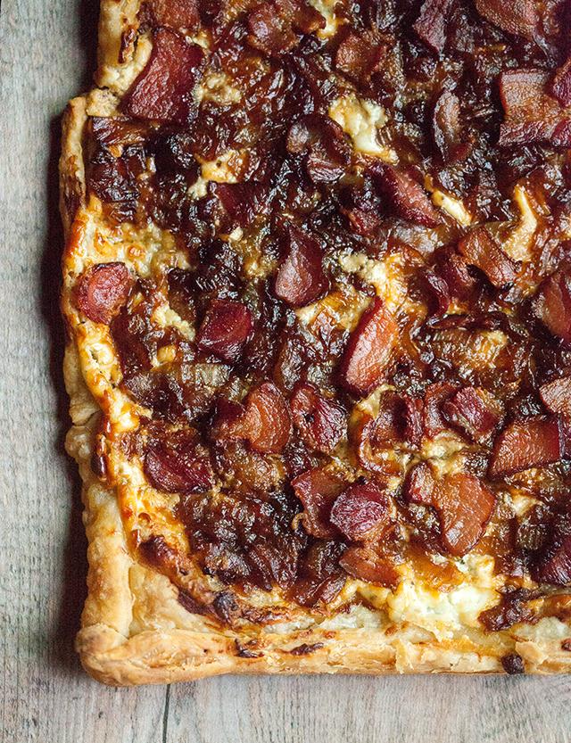 A crispy, crunchy, creamy, savory tart with hints of sweetness---deeply satisfying! | spachethespatula.com #recipe