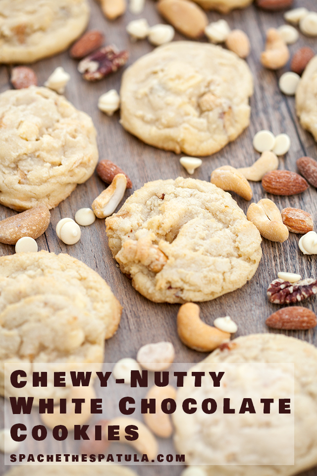 Super chewy cookies full of roasted mixed nuts and white chocolate   spachethespatula.com #recipe