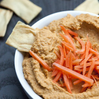 This unique hummus is slightly sweet, slightly spicy, and so SO good! | spachethespatula.com #recipe