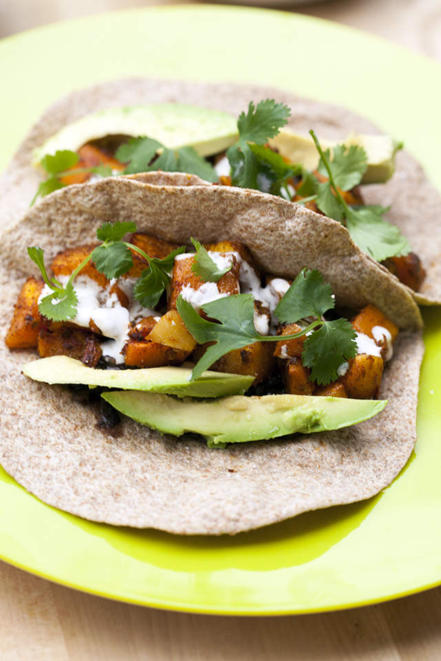 Crazy satisfying vegetarian tacos that are slightly smoky, slightly spicy, slightly sweet, and fully delicious!   spachethespatula.com #recipe