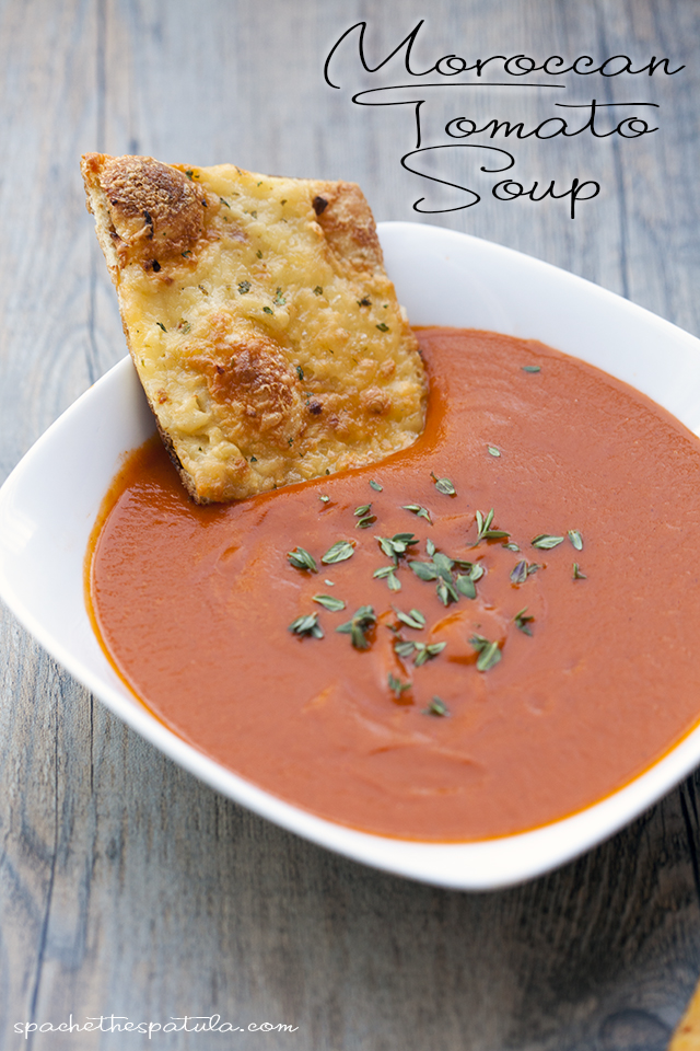 This tomato soup gets its unique flavor---slightly sweet, a little heat, super tasty---from some Moroccan-inspired ingredients.   spachethespatula.com #recipe