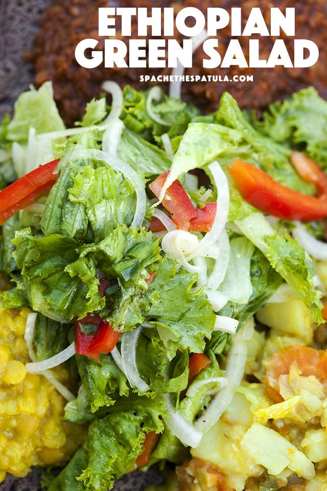 This simple-yet-vibrant green salad adds an amazing freshness to any Ethiopian feast!   spachethespatula.com #recipe #vegan