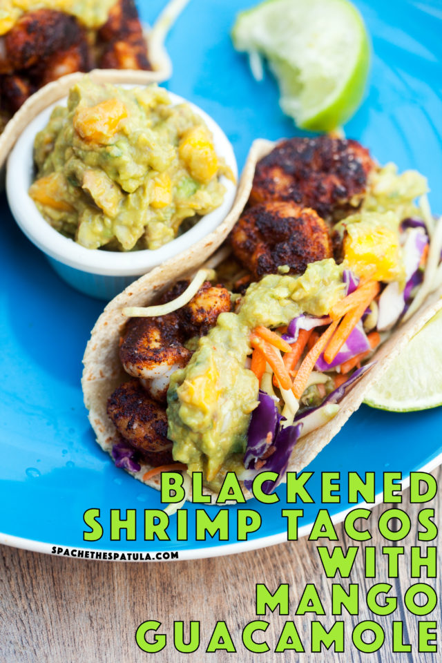 Bold and spicy shrimp pair perfectly with fruity and creamy mango guacamole! | spachethespatula.com #recipe