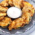 These zucchini coins are super crunchy, flavorful, and easy...plus they're good for you! | spachethespatula.com #recipe #vegan